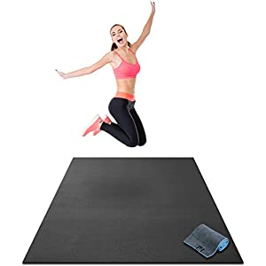 """Premium Large Exercise Mat - 6' x 4' x 1/4"""" Ultra Durable, Non-Slip, Workout Mats for Home Gym Flooring - Plyo, HIT, Jump, Cardio Mat - Use With or Without Shoes (72"""" Long x 48"""" Wide x 6mm Thick)"""