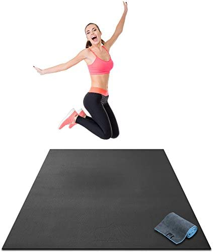 Premium Large Exercise Mat – 6 x 4 x 1 4 Ultra Durable, Non-Slip, Workout Mats for Home Gym Flooring – Plyo, Jump, Cardio, MMA Mats – Use with or Without Shoes 72 Long x 48 Wide x 6mm Thick
