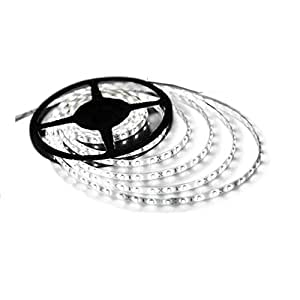 "Triangle Bulbs Cool White LED Waterproof Flexible Strip Light, T93007-1 (1 pack) - 25 watt, 300""3528 SMD"", 12 volt, 16.4 feet, Pure White - 1 PACK"