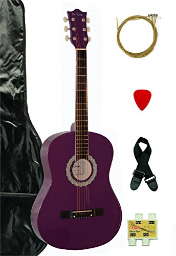 "38"" Inch Student Beginner Purple Acoustic Guitar with Carryi"