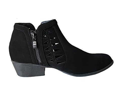 Gary Moda Faux Heel Ankle Closed Cuts Decorative Outs Black Low Western with Top Women's 55 Toe Bootie Round qSwxFUUE0d