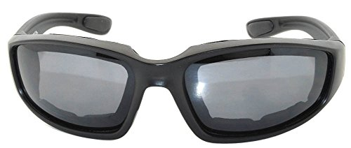 Black Motorcycle Padded Foam Glasses Smoke Lens for Outdoor Activity Sport OWL by OWL (Image #1)