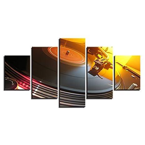 Imágenes de lienzo Decoración Salón Marco 5 Piezas música DJ ...