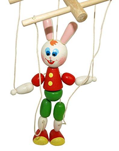 White Rabbit Marionette String Puppet - Vintage Handmade Wooden Marionette Doll - 7