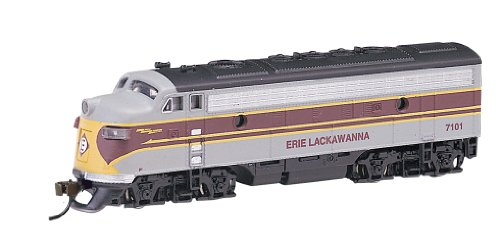 Emd F7a Unit - Bachmann Industries EMD F7-A Diesel Locomotive DCC Equipped Erie Lackawanna Train Car, Gray/Maroon, N Scale