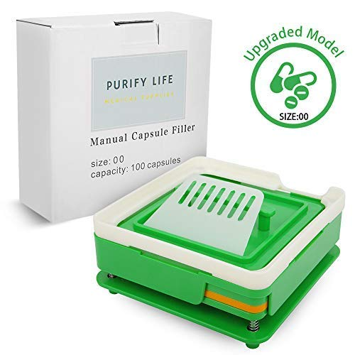 Capsule Filling Machine Kit Size 00# Empty Oil Liquid Pill Filler Medical Device Tool for Holding Vegetable Capsules in Place No Spill Or Mess - Easy to Use at Home Clinic Office (Green) by Purify Life