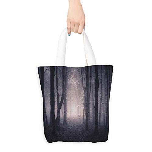 Forest Reusable Grocery Shopping Tote Bag Path Through Dark Deep in Forest with Fog Halloween Creepy Twisted Branches Picture Pink Brown W18xL16 -