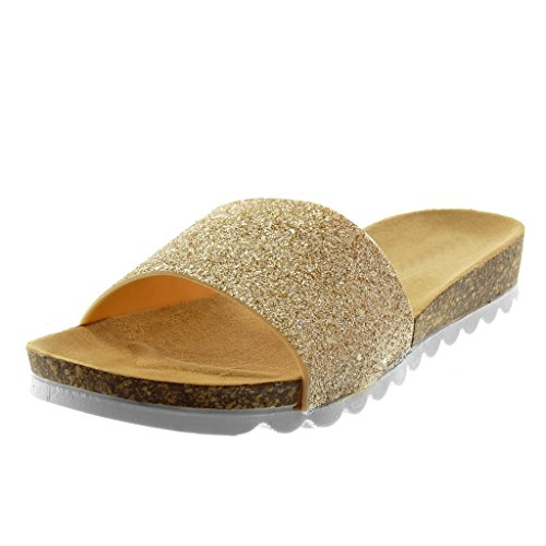 Angkorly Women's Fashion Shoes Mules Sandals - Slip-on - Glitter - Shiny - Cork Flat Heel 3 cm Gold ghUWLdF0Xw
