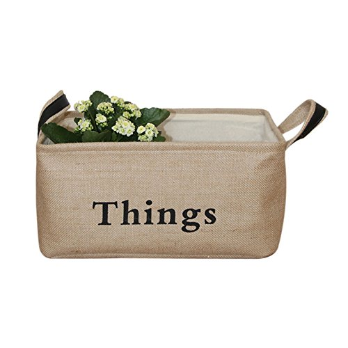 Vintage Eco-friendly Jute Linen Square Storage Bin for Organizing Toys Clothing Books Gift Baskets (Large 15.7