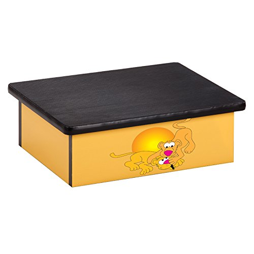 Pediatric Equipment - 20'' x 16'' x 7'' Serengeti Lion Cubs Yellow Laminate Pediatric Step Stool - CL-10-SL by Miller Supply Inc