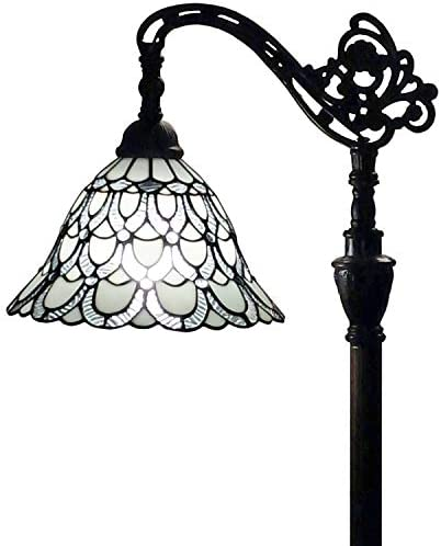 Tiffany Style Floor Lamp Arched 62″ Tall Stained Glass White Mahogany Peacock Feathers Antique Vintage Light Decor Bedroom Living Room Reading Gift AM107FL11 Amora Lighting,11 Inch Diameter
