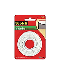 Scotch Permanent Mounting Tape, 0.5 x 75 inches (Pack of 2)