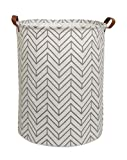 CLOCOR Collapsible Round Storage Bin/Large Storage Basket/Clothes Laundry Hamper/Toy Storage Bin (Grey Geometry)