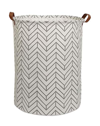 CLOCOR Collapsible Round Storage Bin/Large Storage Basket/Clothes Laundry Hamper/Toy Storage Bin (Grey Geometry) (Small Hamper)