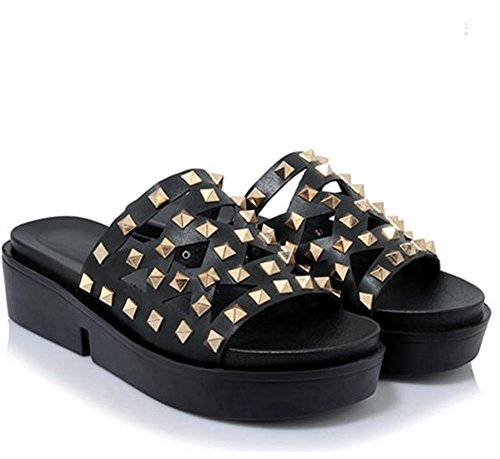 Easemax Womens Open Toe Thick Sole Cutout Studded Mid Wedge Heel Platform Slide Sandals Black LQ65FHwr