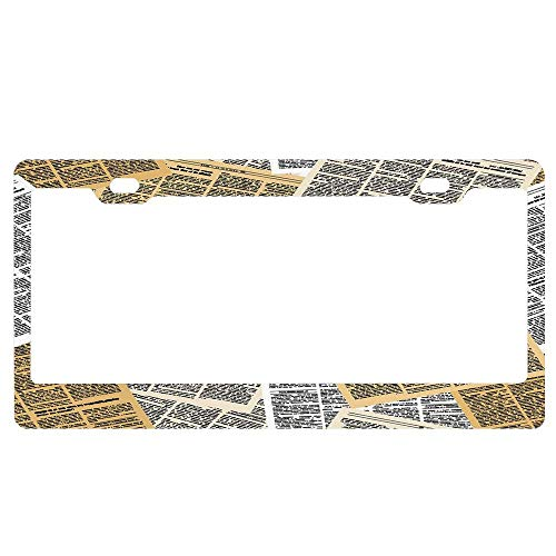 Style In Print Tropical Flowers and Palm Tree Leaves Car License Plate Frame Tag Holder 4 Hole