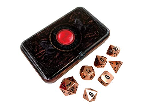Skull Splitter Dice- Warlock Tome - Copper Color- Solid Metal Polyhedral Role Playing Game (RPG) Dice Set (7 Die in Pack) with Box from SkullSplitter Dice