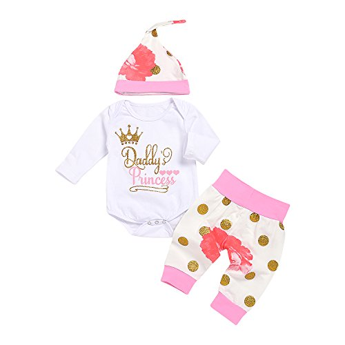 Girl Letters Daddy's Princess Printed Long Sleeve Romper+Floral Dot Pant+Hat Winter Outfits (White, 6-12Months) ()
