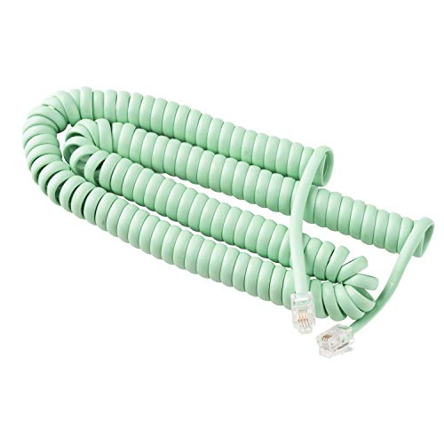 Telephone Cord Handset Curly - Phone Color Earth Day Green 15ft - Works on virtually All Trimline Phones and Princess Telephones