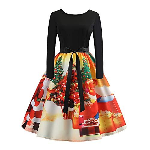Franterd Christmas Women Dress Vintage Print Party Retro A-Line Swing Dress S-XXL (XXL, Yellow) ()