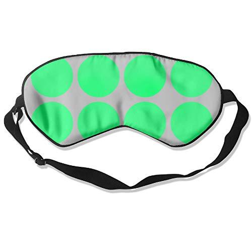 HSHISKH Natural Silk Sleep Mask,Blindfold,One Strap Super Smooth Eye Mask - Big Dots in Grey & Green Fabric (1900) Print -