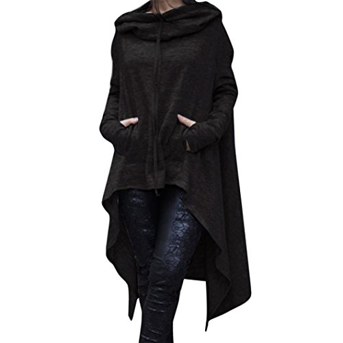 WILLTOO Clearance Winter Warm Coats Loose Long Hooded Tops Ladies Sweater Asymmetric Blouse Plus Size (XL, Black)