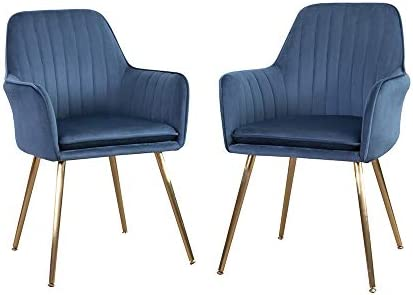 DMF Furniture Modern Velvet Accent Chair Set of 2 High Back Elegant Dinning Chairs with Arms in Living Guest Room Navy Blue