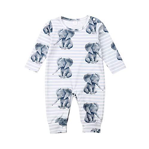 WEXCV Unisex baby jumpsuit rompers cartoon olifant print pasgeborenen pyjama kleding meisjes jongens 0-18 maanden…