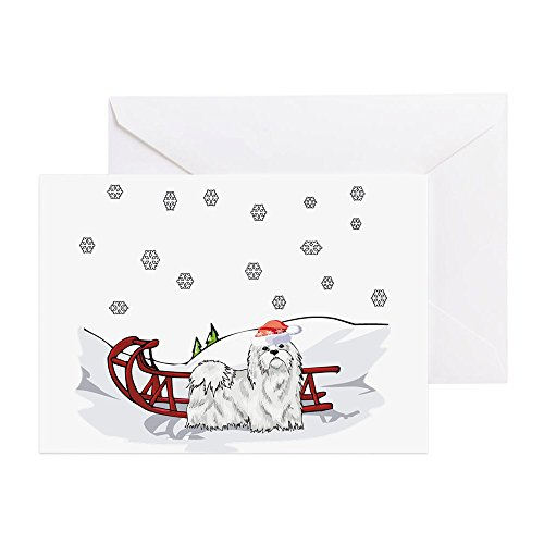 (CafePress - Sledding Maltese - Greeting Card (20-pack), Note Card with Blank Inside, Birthday Card Glossy)