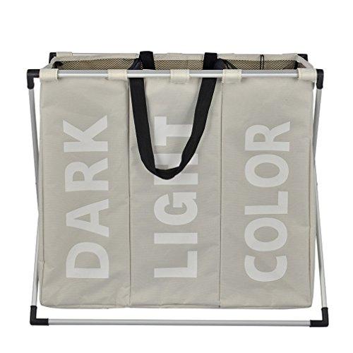 XMCOWAYOU 3 Section Laundry Basket, Foldable Laundry Hamper With Alloy Frame, Grey