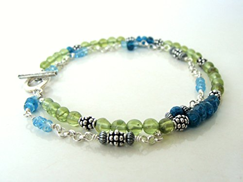 Blue topaz apatite peridot multi-strand bracelet, sterling silver, (Topaz Multi Strand Bracelet)