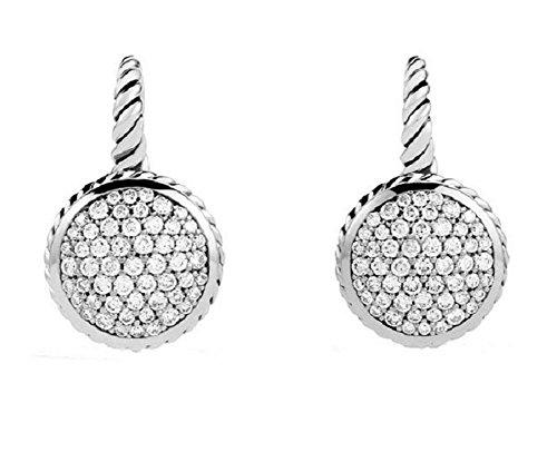 david-yurman-sterling-silver-11-mm-round-drop-pave-diamond-101-ctw-earrings-new
