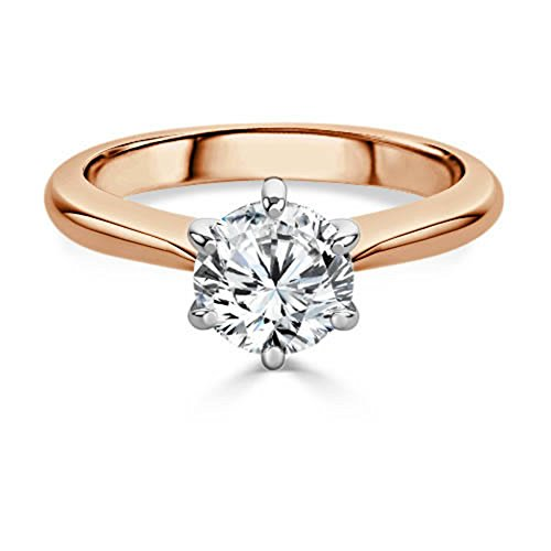 2.00 Ct Round Moissanite Diamond Engagement Ring 14K Rose Gold Size J K L M...