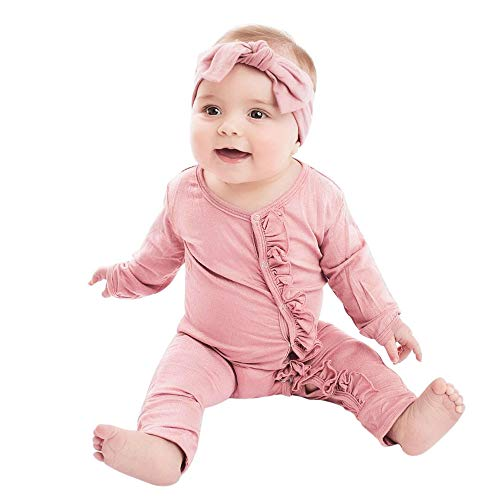 Kehen Baby Pajamas Infant Spring Outfit Toddler Girl Solid Jumpsuit with Headband Cotton Romper Bodysuit Pink 3-6 Months]()