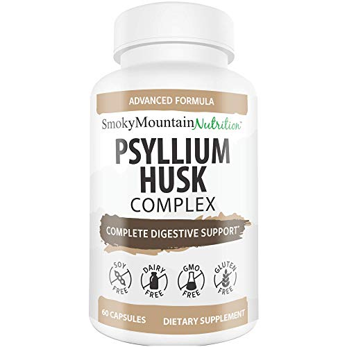 Psyllium Husk Complex 1080mg of Psyllium Husk (60 Capsules) Psyllium Husks Fiber Powder Supplement Supports Digestion, Intestinal Health & Regularity- Plus 10 Herbs- Smoky Mountain Nutrition