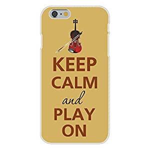 Apple iphone 6 plusd 5.5 Custom Case White Plastic Snap On - Keep Calm and Play On Violin