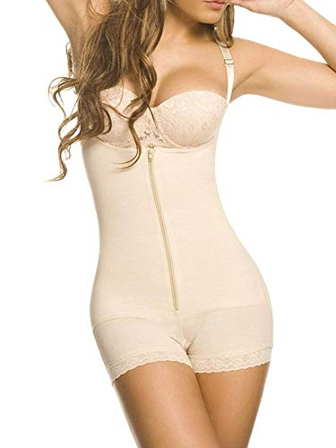 YIANNA Mujer Body Reductor Busto Abierto Corse sin Costuras Faja Reductora Modeladora Negro Shapewear Adelgazante,UK-YA7102-Beige-M