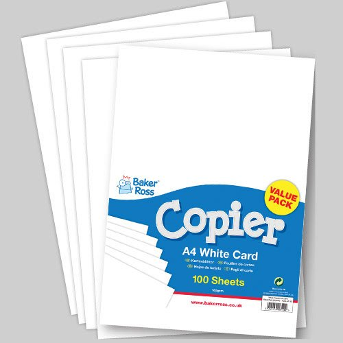 Baker Ross Lightweight White Card for Children to Use in All Types of Crafts 160 gsm (Pack of 100)