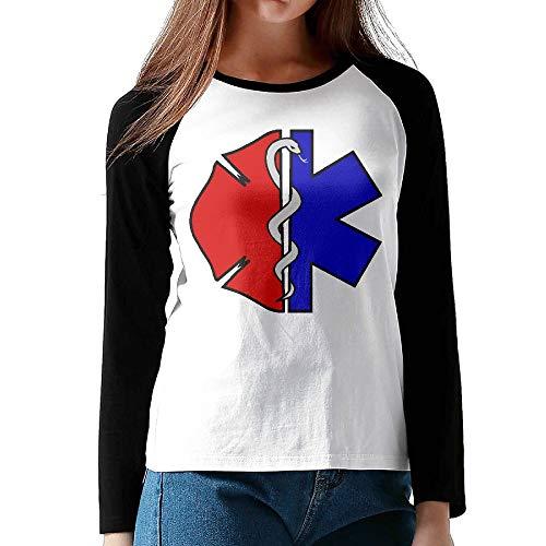 Women's Ladie's Raglan Long Sleeve Baseball Tee Shirt Fire Rescue Scrabble Maltese Tunic Sweatshirt Tops for Women