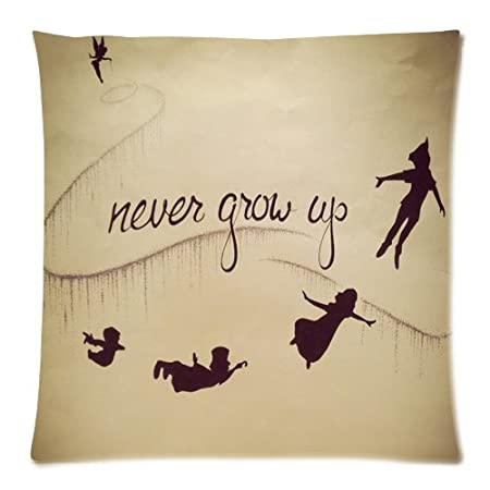 Never Grow Up Peter Pan Cushion Case 20x20 Pillowcase Two Sides