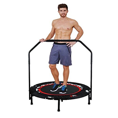 shaofu 40 Rebounder Trampolines Foldable Exercise Trampoline with Handrail for Adults Bungee, 300 lbs (Red - Adjustable Legs)
