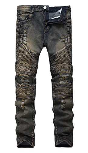 NITAGUT Men's Ripped Destroyed Distressed Slim Fit Jeans Bik