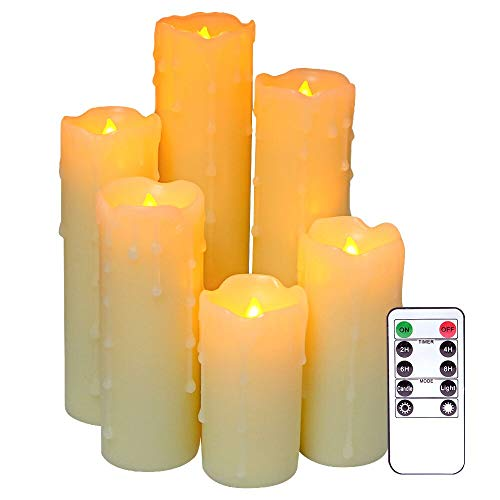 DRomance Flameless Flickering Dripping Candles Battery Operated with Remote and Timer, Set of 6 Real Wax Warm Light 2.2