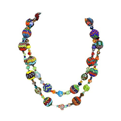 Enchanted Imports Fiesta Celebration Beaded Necklace, Handmade in Guatemala (Multi-colored) (Fair Trade Glass Beaded Necklace)