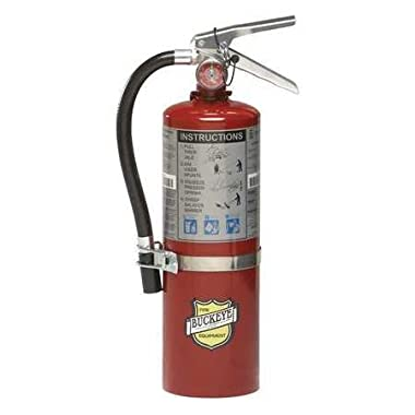 Buckeye 25614 ABC Multipurpose Dry Chemical Hand Held Fire Extinguisher with Aluminum Valve and Vehicle Bracket, 5 lbs Agent Capacity, 4-1/4  Diameter x 7-1/4  Width x 16-3/8  Height