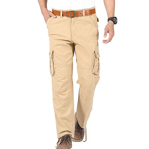 CNMUDONSI Men's Cargo Pants Relaxed Fit Cotton with Multi Pockets Youth - Six Utility Pants Pocket