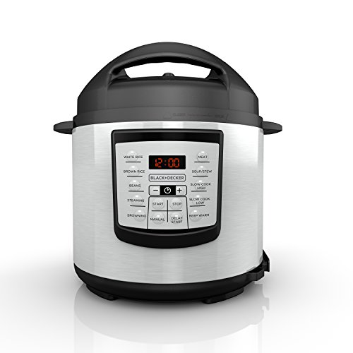 BLACK+DECKER 6-Quart Pressure Cooker, Black, PR100