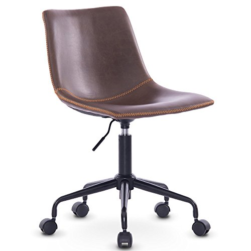 DJ·Wang Home Office Casua Side Chair Black Rolling Metal Base Centiar Counter Height Barstool Dining Chair, Faux Leather Bucket Seat Task Chair (Antique Brown)