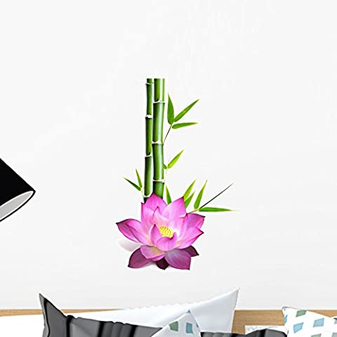 Wallmonkeys Flower of Lotus and Bamboo Peel and Stick Wall Decals WM238743 (18 in H x 12 in W) - Bamboo Wall Decals