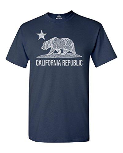 Shop4Ever California Republic Vintage White Bear T-Shirt Cali Shirts X-Large Navy